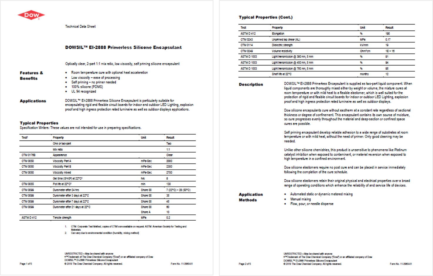 Technical and safety data sheets_EI-2888 Dowsil
